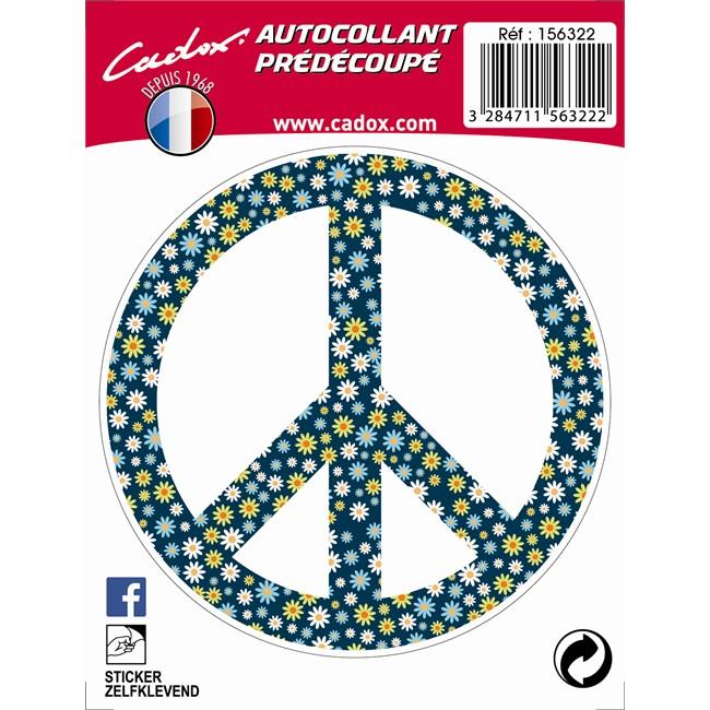 1 Sticker Autocollant Cadox Fleur Peace & Love
