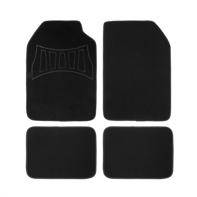 4 tapis de voiture universels moquette 1er prix confiance noir et gris. Black Bedroom Furniture Sets. Home Design Ideas