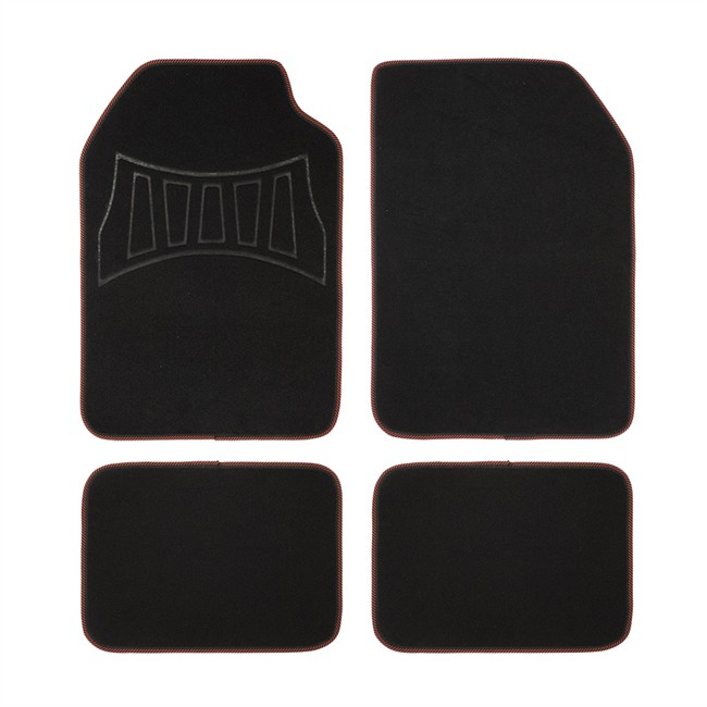 4 tapis de voiture universels moquette 1er prix confiance noir et rouge. Black Bedroom Furniture Sets. Home Design Ideas