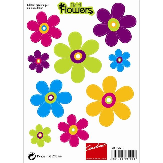 9 Stickers Autocollants Cadox Acid Flowers