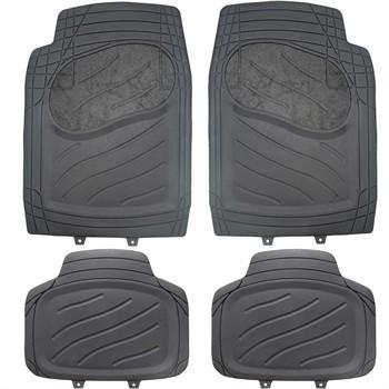 4 tapis de voiture universels en pvc et moquette norauto noir. Black Bedroom Furniture Sets. Home Design Ideas